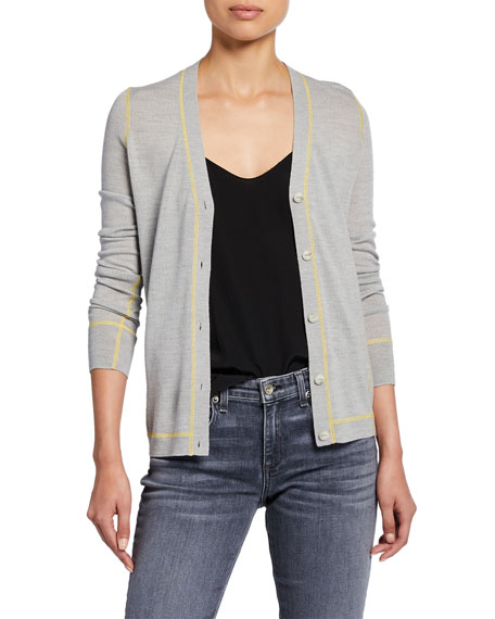 Shannon Button-Front Extra Fine Merino Wool Cardigan