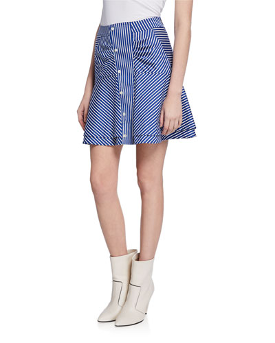 a046625d8 Striped Flared Short Skirt with Ruching