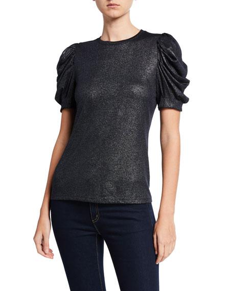 Jessia Metallic Ruched-Sleeve Top
