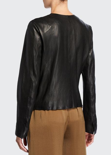 Cross-Front Leather Moto Jacket