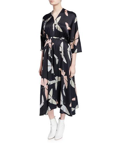 Butterfly-Print Satin Asymmetrical Midi Dress