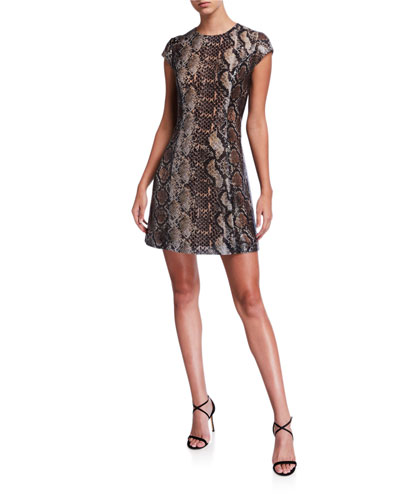 Elissa Python Cap-Sleeve Mini Dress
