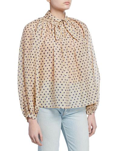 Polka Dot Cotton-Silk Tie-Neck Blouse