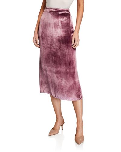 Long Panne Velvet Wrap Skirt