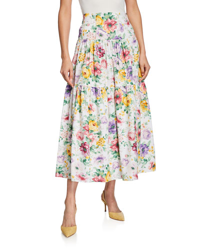 Rocco Pleated Floral Tiered Skirt
