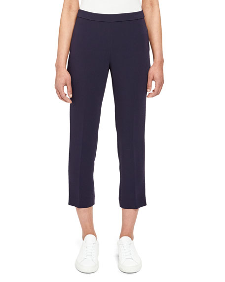 Basic Crepe Pull-On Cropped Pants