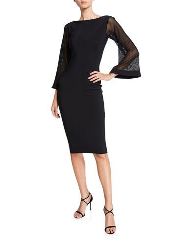 bf6f81a6 Bateau-Neck Mesh-Sleeve Cocktail Dress Quick Look. Chiara Boni La Petite  Robe