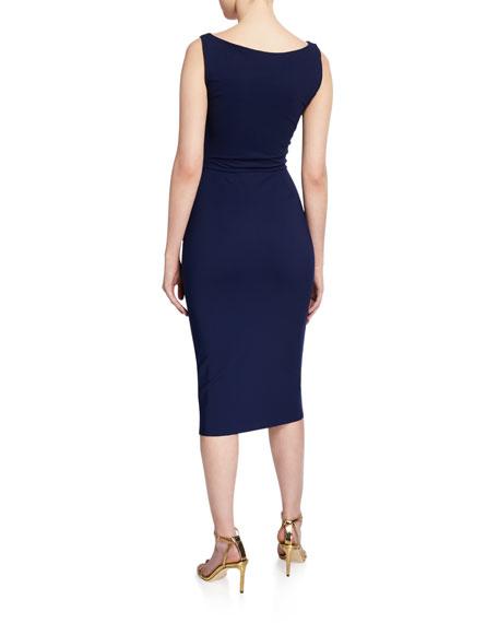 V-Neck Sleeveless Belted Cocktail Dress w/ Side Detail