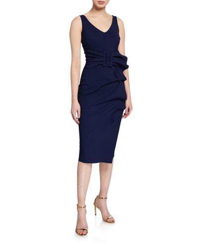 09276293 V-Neck Sleeveless Belted Cocktail Dress w/ Side Detail Quick Look. Chiara  Boni La Petite Robe