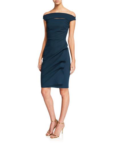 90d19379 Off-the-Shoulder Cap-Sleeve Cocktail Dress w/ Front Cutout Quick Look. Chiara  Boni La Petite Robe