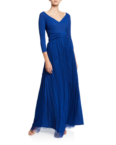 V-Neck 3/4-Sleeve A-Line Gown with Sheer Skirt Overlay