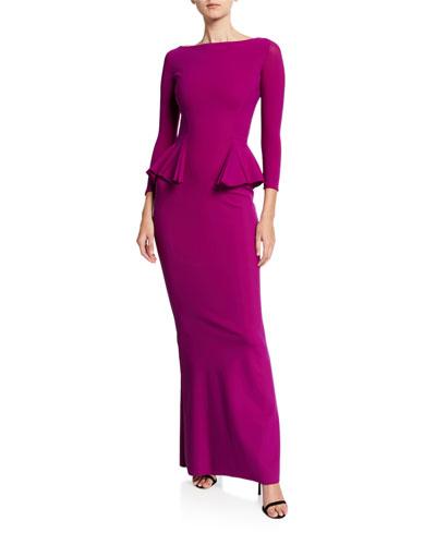 b46165f849661 Bateau-Neck 3/4-Sleeve Peplum Column Gown Quick Look. Chiara Boni La Petite  Robe