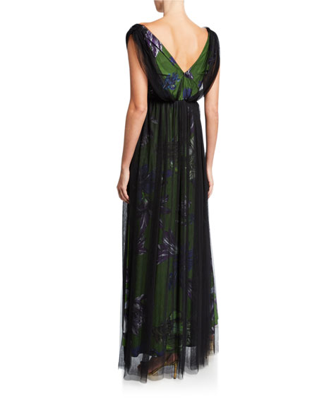 Overlay Floral V-Neck Gown with Band Trim
