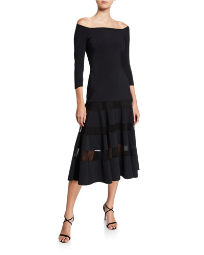 Off-the-Shoulder A-Line Midi Dress with Sheer Skirt Insets