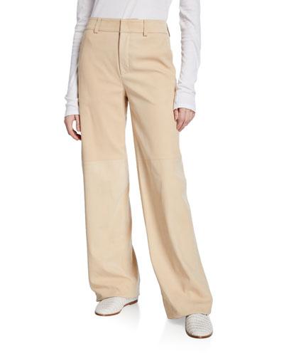 Nubuck Wide-Leg Leather Pants