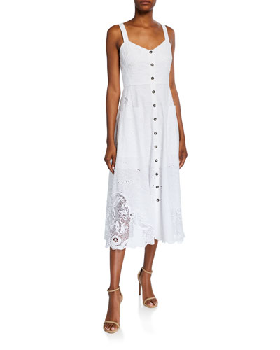 Fara Eyelet Lace Button-Front Dress