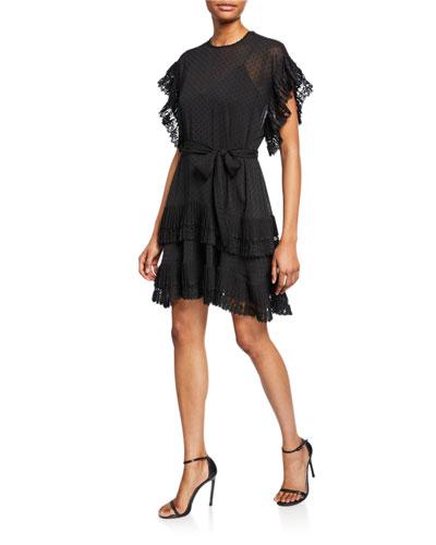 Espionage Pleated Frill Mini Dress