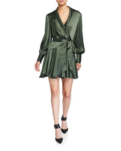 Espionage Long-Sleeve Silk Mini Wrap Dress