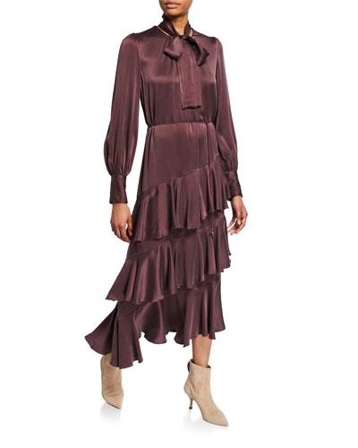 Espionage Tiered Silk Flounce Dress