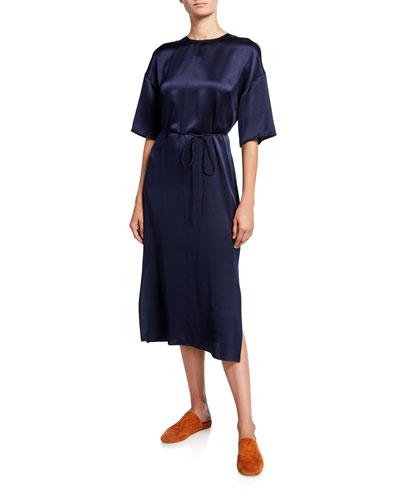 Silk Satin Seamed Front Half-Sleeve Midi Dress