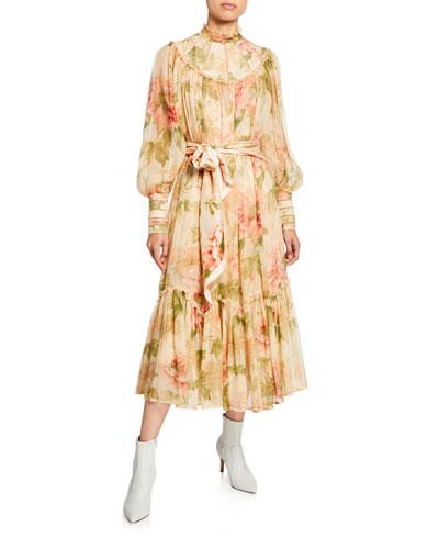 Espionage Floral-Print Chiffon Swing Dress