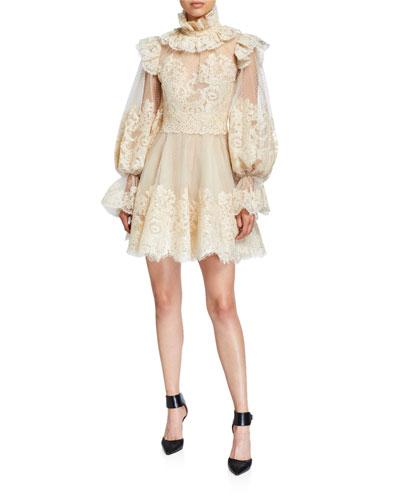 Espionage Corded Lace Mini Cocktail Dress