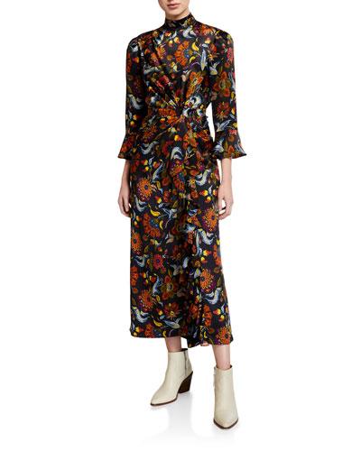 Juliana Floral-Print Silk Dress