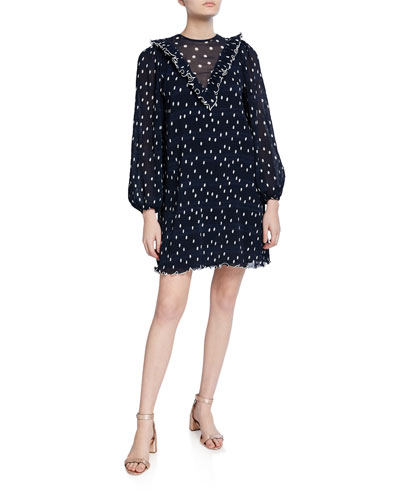 Dot-Print Pleated Georgette Blouson-Sleeve Ruffle Dress