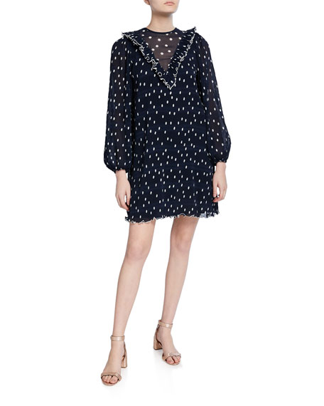 Ganni Dot-Print Pleated Georgette Blouson-Sleeve Ruffle Dress