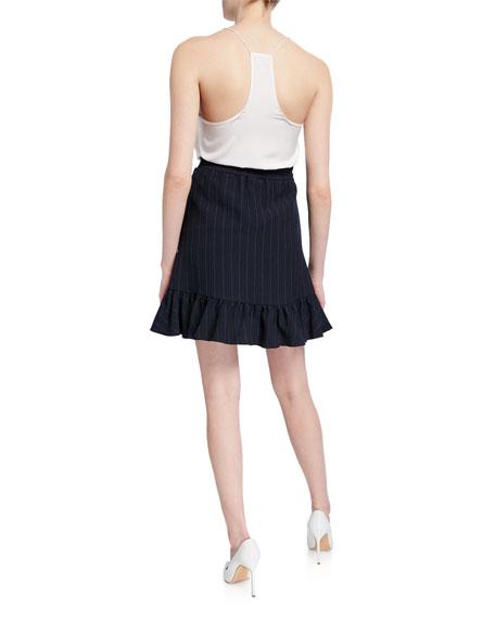 Striped Heavy Crepe Ruffle Skirt
