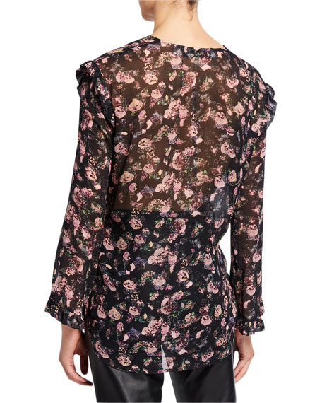 Dolla Floral Ruffle V-Neck Top