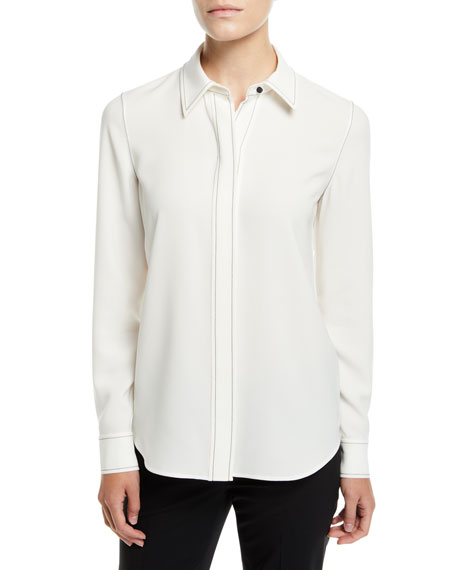 Olga Finesse Crepe Blouse with Topstitch Detail