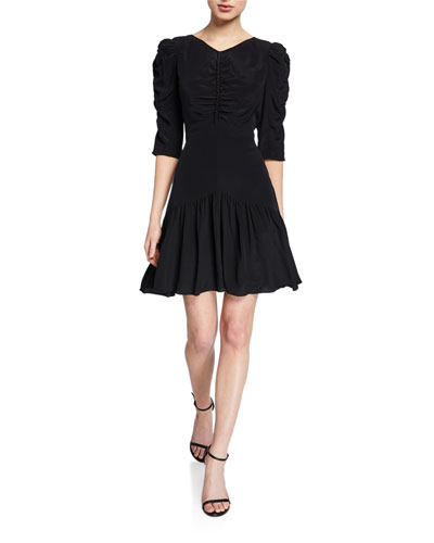 Ruched 3/4-Sleeve Silk Dress