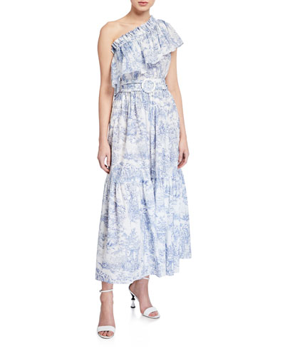 Percy One-Shoulder Striped Belted Dress