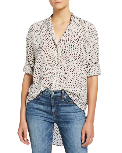 Dirdre Dotted Button-Front Long-Sleeve Blouse