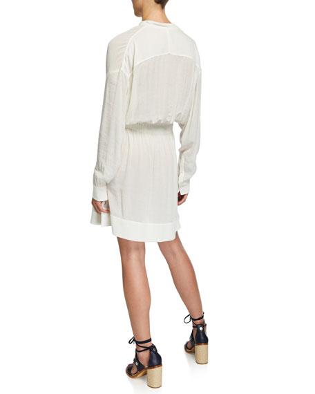 Elish Long-Sleeve Crinkle Dress with Mandarin Collar