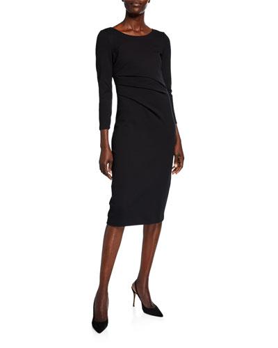 Round-Neck Ruched Jersey Dress  Black