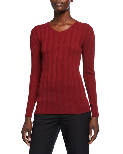 Long-Sleeve Ribbed Crewneck Top  Rose Stone