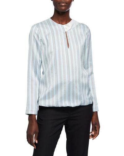 Striped Silk Button-Neck Blouse