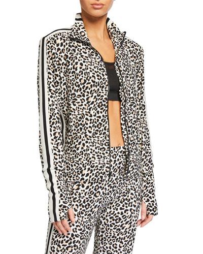 Side-Stripe Leopard-Print Turtle Track Jacket
