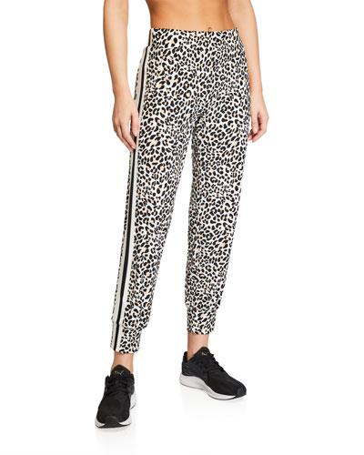 Side-Stripe Leopard-Print Jogger Pants