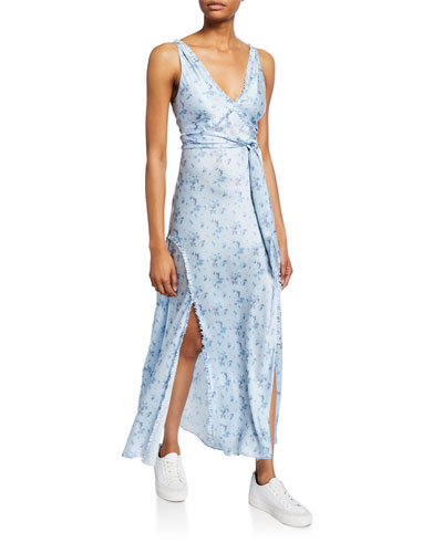 Kendall Floral Silk Charmeuse Long Dress