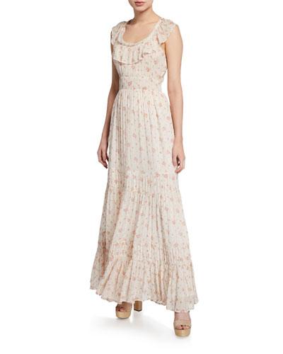 Joanne Floral Scoop-Neck Sleeveless Tiered Silk Dress