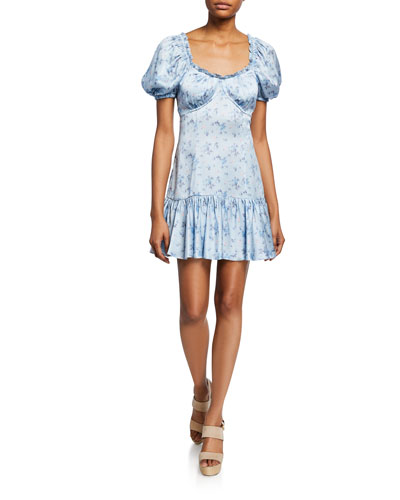 Catalina Puff-Sleeve Floral Charmeuse Mini Dress