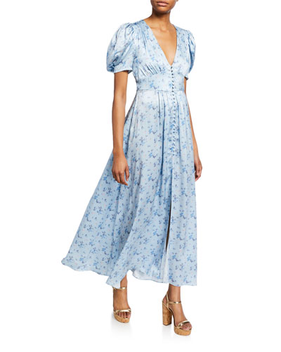 Stacy Button-Front Floral Long Dress