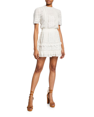 Leighton Embroidered Cotton Short Dress