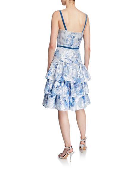 Metallic Printed Fils Coupe Tiered Tea-Length Cocktail Dress