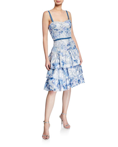 9a13bca3 Metallic Printed Fils Coupe Tiered Tea-Length Cocktail Dress Quick Look. Marchesa  Notte