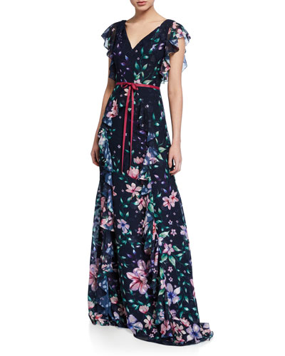 5454fc8367877 Floral Burnout Chiffon V-Neck Cap-Sleeve Gown w/ Ruffle Detailing Quick  Look. Marchesa Notte