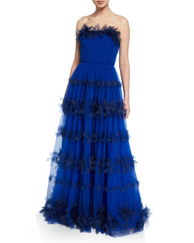 8d3f7624 Strapless 3D Floral Stripe Tulle Ball Gown Quick Look. Marchesa Notte